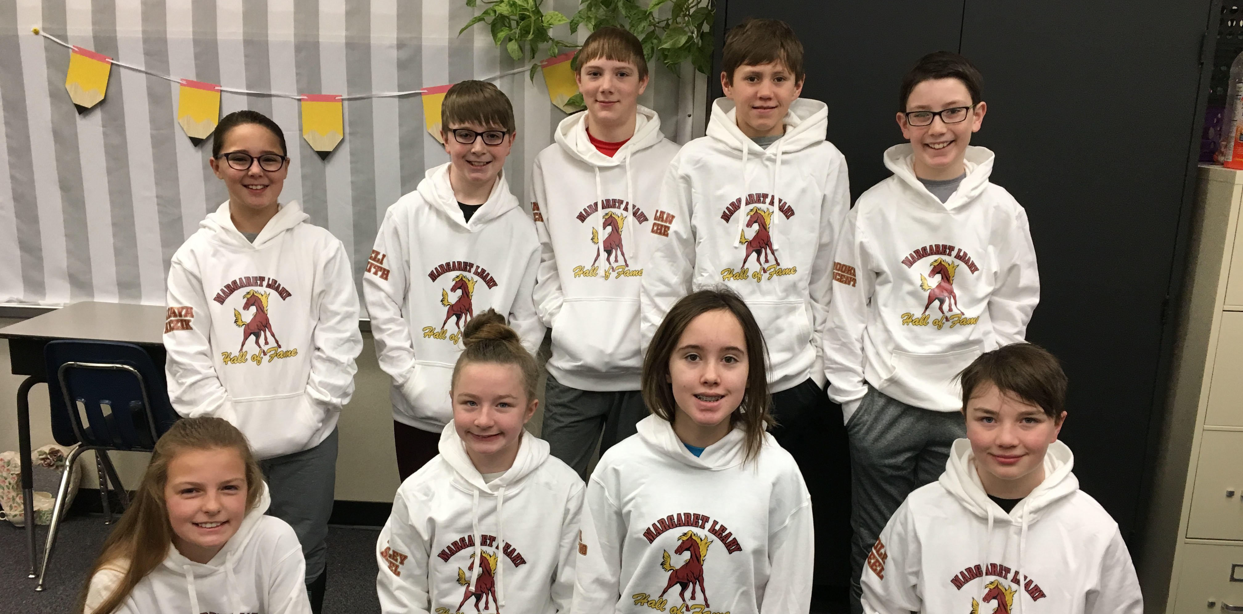 Hall of Fame Students and their new sweatshirts