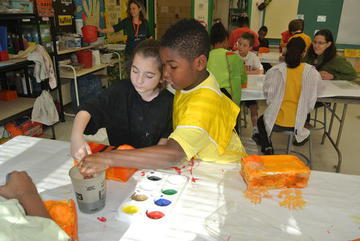 Two students making a hand painting