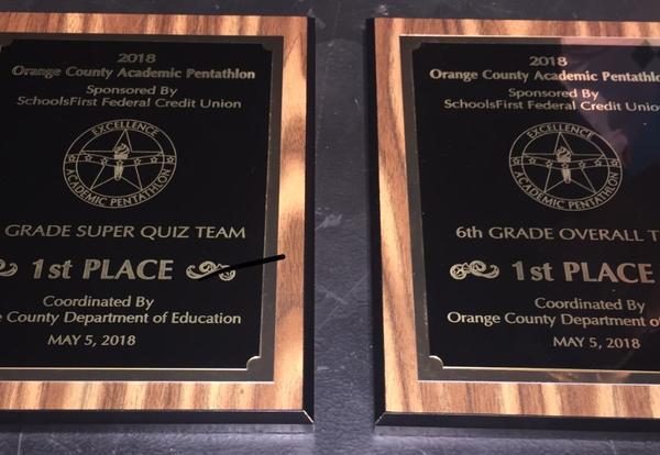 Orange County Department of Education Academic Pentathlon Top Honors