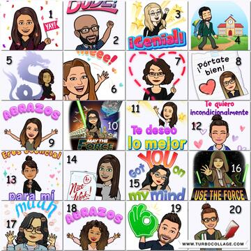 Our teacher Bitmoji collage! ¡Nuestro collage de los Bitmoji de los maestros!