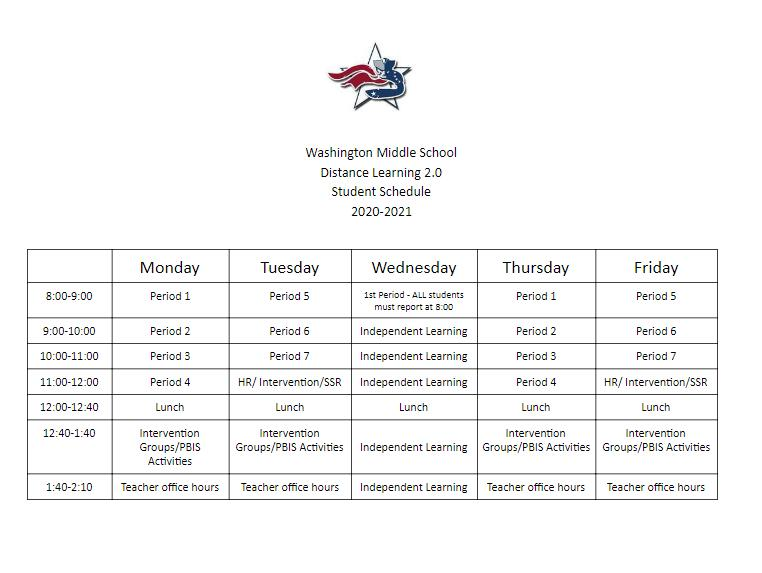 Washington Middle School Distance Learning Schedule