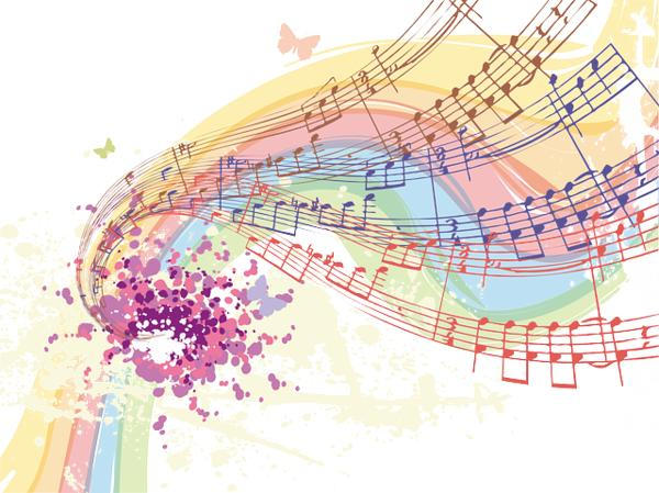 Music Notes and rainbow picture