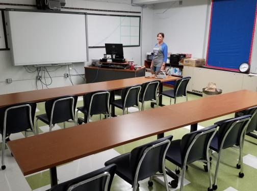 Class room picture with white boards