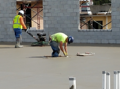 making the concrete smooth