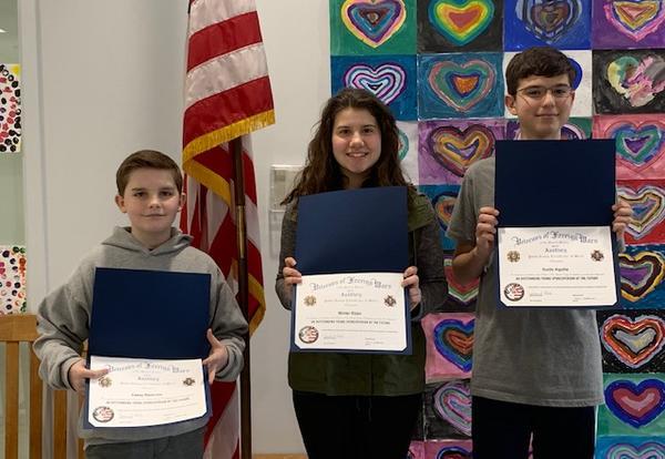 VFW Patriot's Pen Essay Contest Winners!