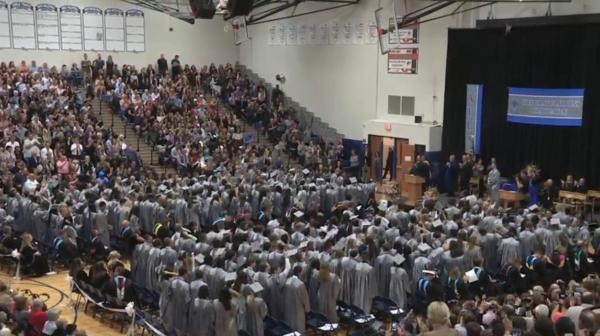 A view of the graduates and parents in the stands at a VHHS commencement ceremony.