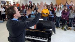 Dr. Brown directing as LHS choir prepares for Italy Tour 2011 - Photo by The Daily Herald