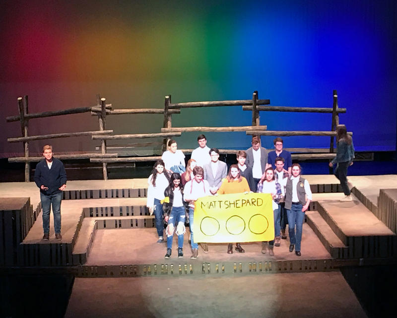 The Laramie Project: Television News Moment with reporters and tv cameras