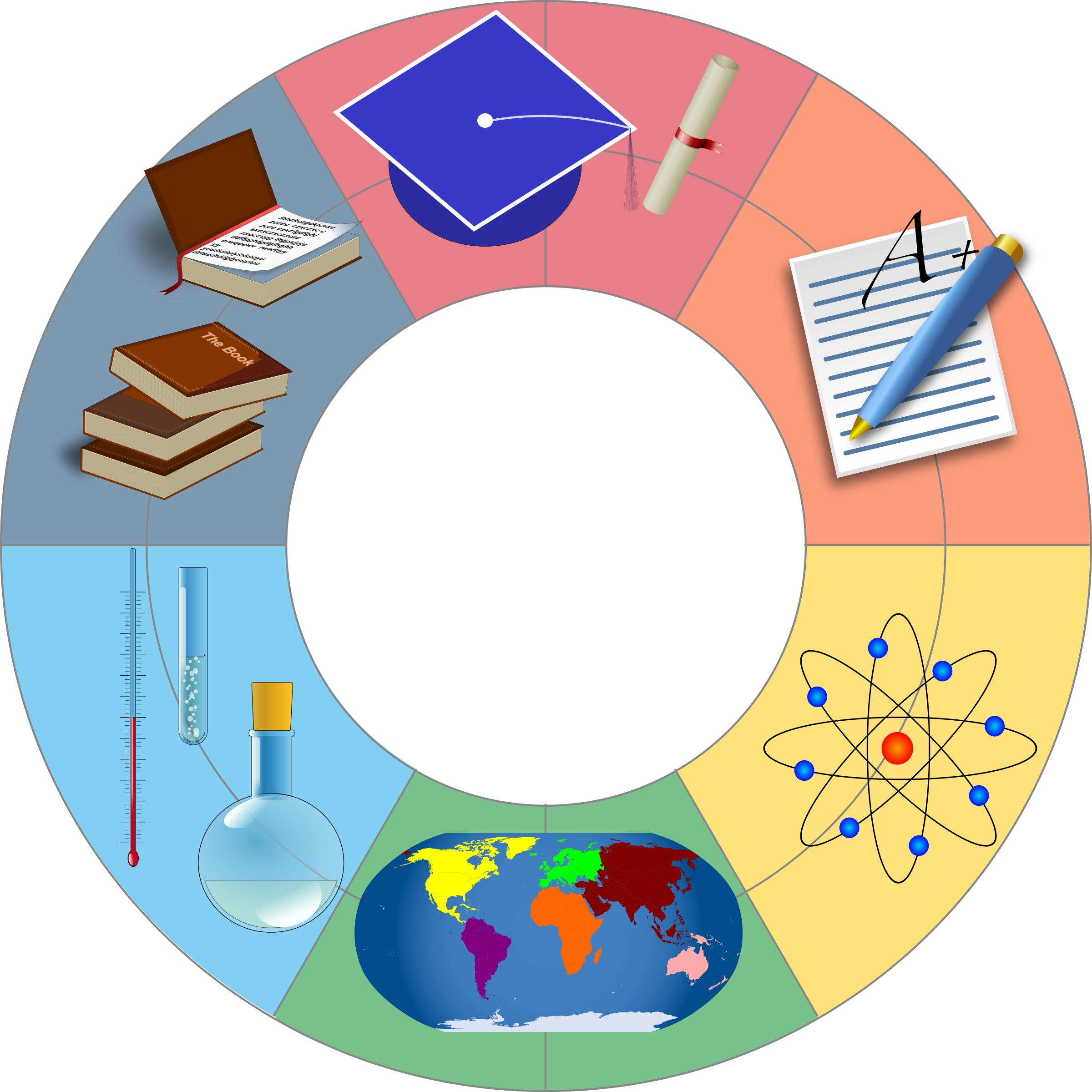 Various education images in circle