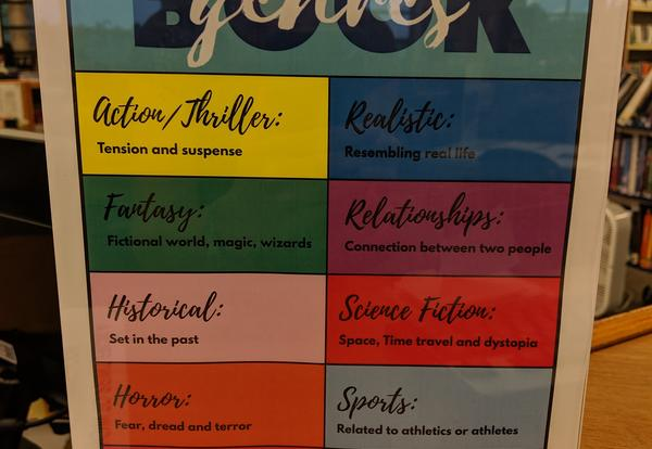 Fiction section arranged by genres