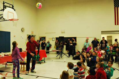 Demonstrations in the gym during Camp Douglas Math and Science Night