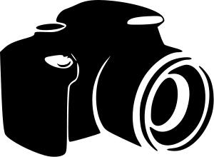 Black and white image of a camera