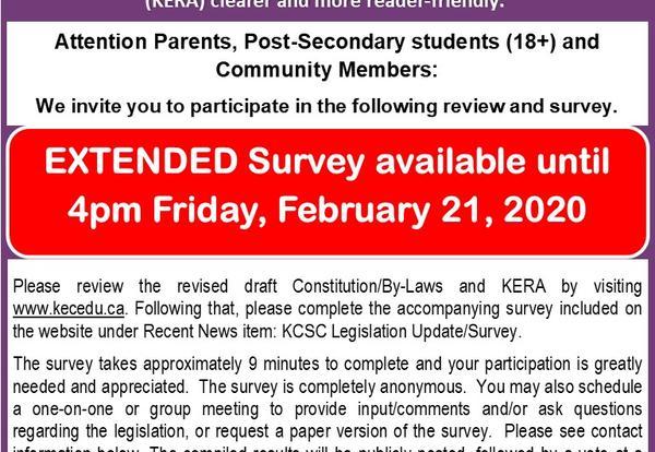 KCSC Communiqué:  KCSC Legislation Update/Survey