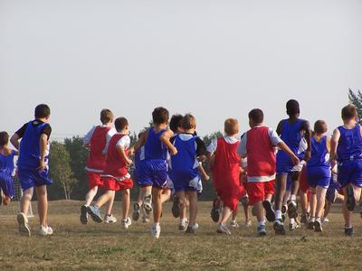 Boys running in a race