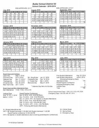 Butler Junior High Calendar   About