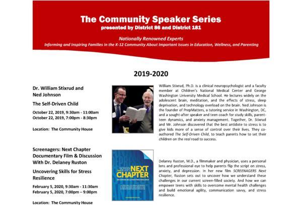 Parents invited to Community Speaker Series