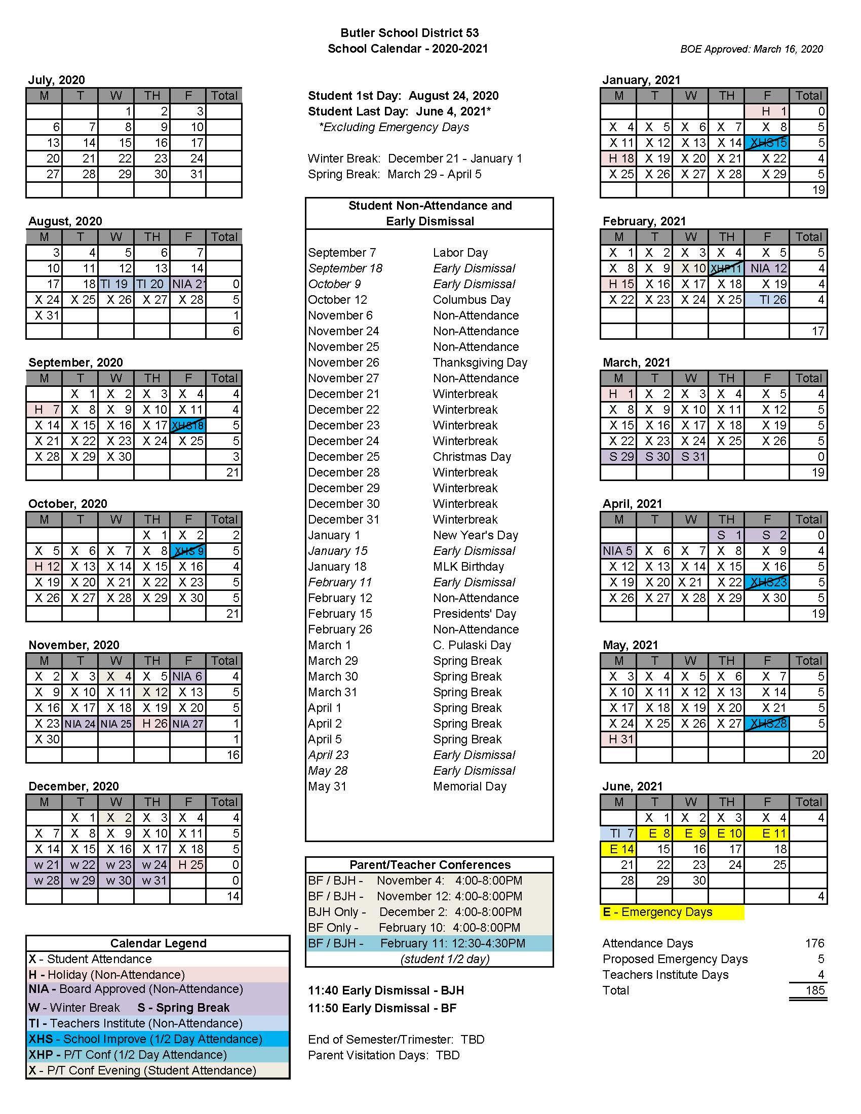 Butler Academic Calendar 2021 District 53 Calendar   About