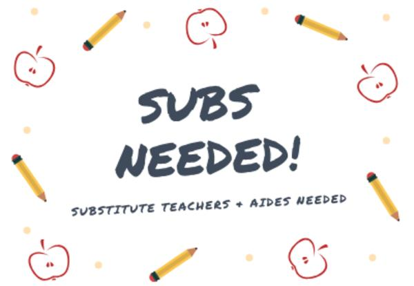 substitute teachers and aides needed at the IU5. Image and two links. One link for a flyer with detailed information and the other link directed to the IU5 employment opportunities page.