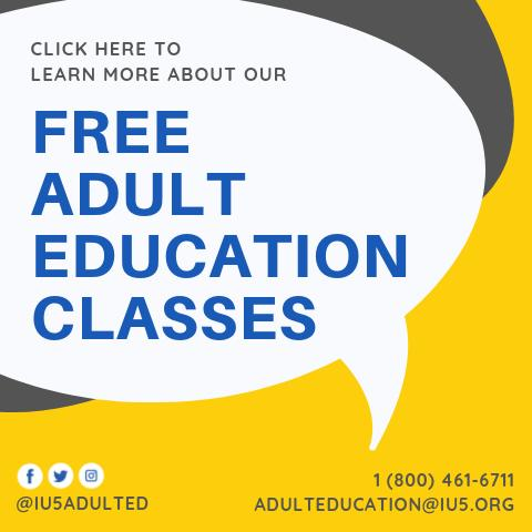 Image link for IU5 Free Adult Education classes with contact information