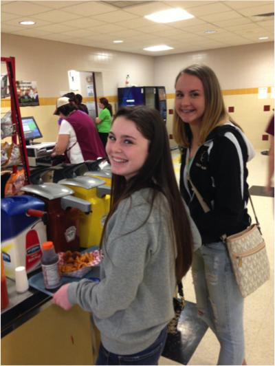 Sophomores, Reaganne McMichael and Lindsey Gratton are grabbing a bite to eat before going back to class