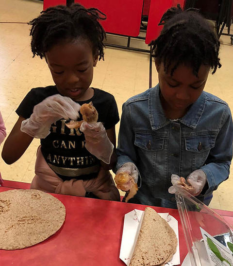 Students learn how to make healthy snacks