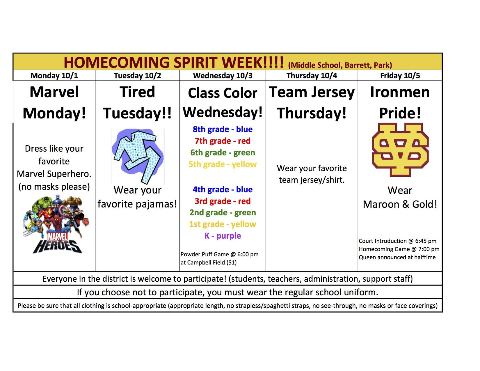 Homecoming Spirit Week schedule