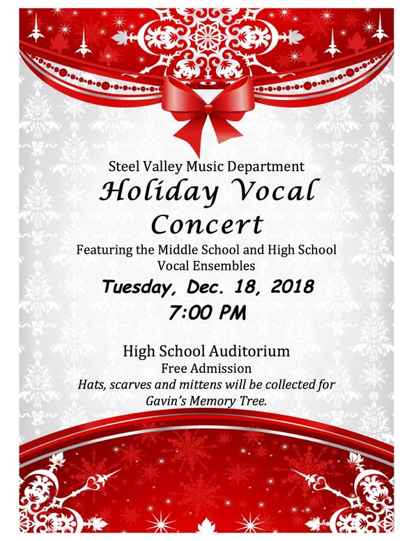Steel Valley Music Department Holiday Concert schedule