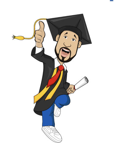 Clip art of grad in cap and gown with thumb up
