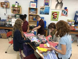 Students working on Valentine's Day project