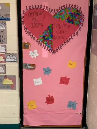 Door decorated: Autism awareness