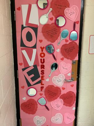 Door decorated: Love yourself
