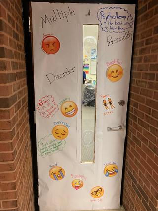 Door decorated: Multiple Personality Disorder