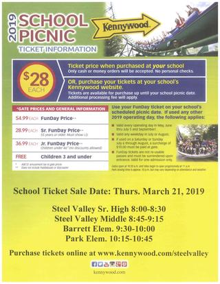 2019 School Picnic at Kennywood ticket information