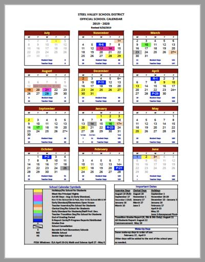 Thumbnail of the 2019-20 Steel Valley School Calendar