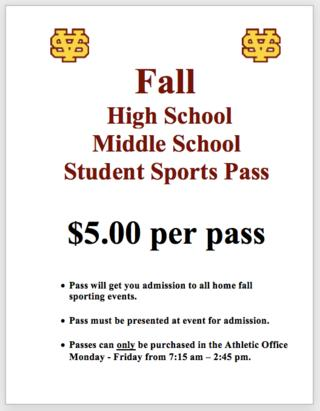 Student Sports Pass for Fall
