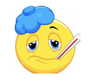 Emoji with ice pack and thermometer