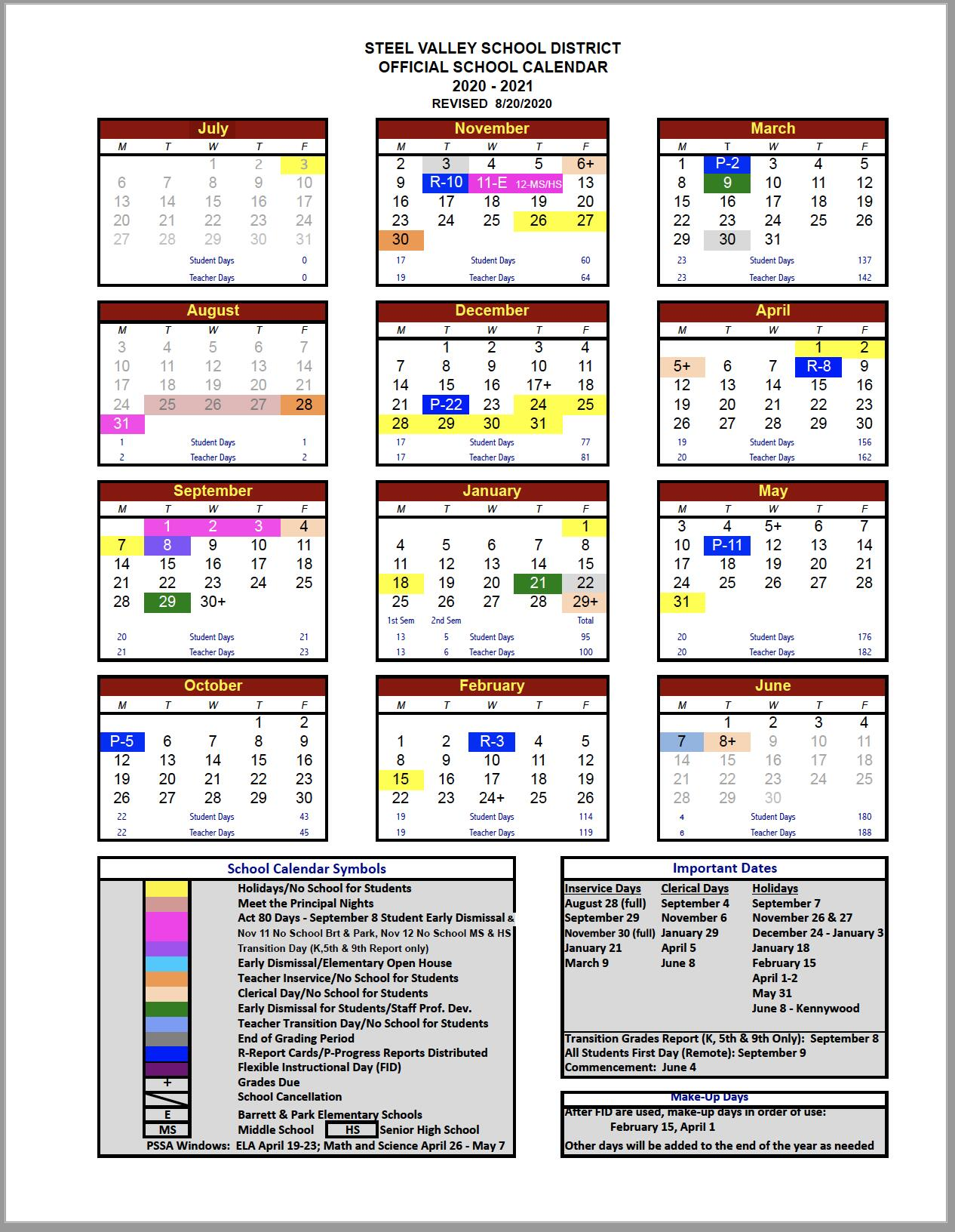 Thumbnail of the 2020-21 Steel Valley School Calendar