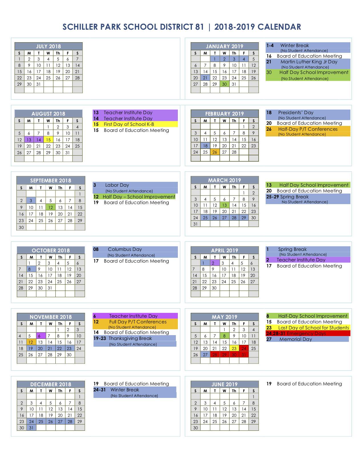 schiller parks 2017 2018 school calendar