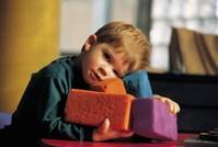 Boy with colored blocks