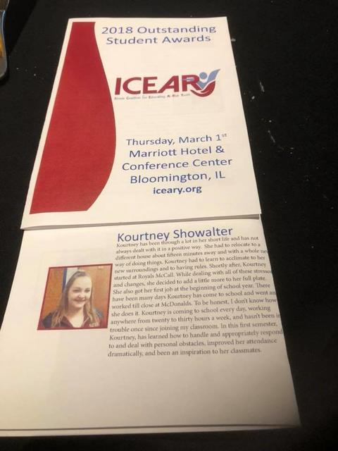 Student Kourtney Showalter honored at ICEARY Conference 2018