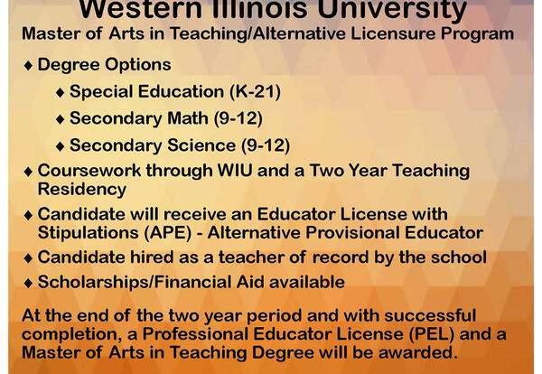 WIU Offering Master of Arts in Teaching