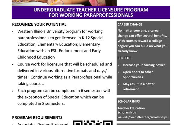 WIU Offering New Licensure Program for Working Paraprofessionals