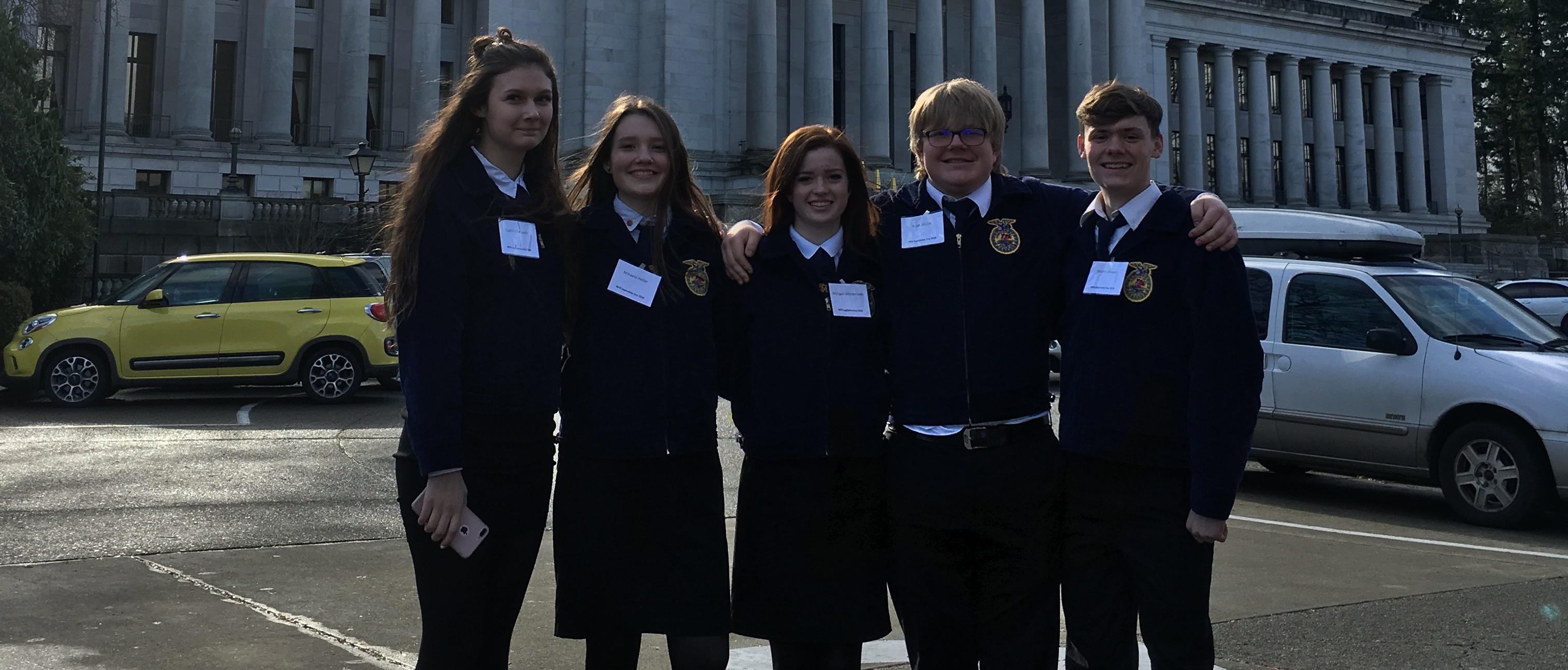 CERHS FFA state team in front of the Capitol building in Olympia.