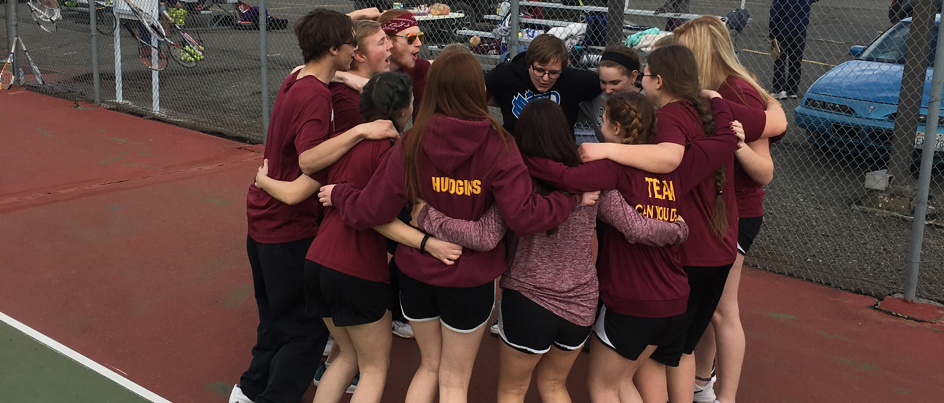 CERHS tennis team huddles up