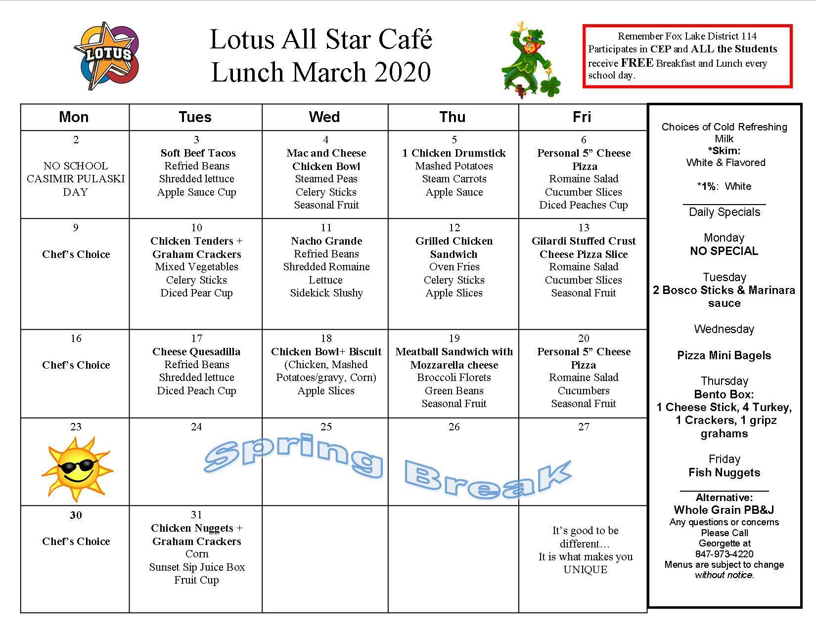 Lotus Breakfast And Lunch Menus Parents
