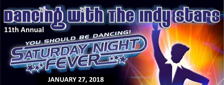 banner of dancing with the indy stars - man disco dancing