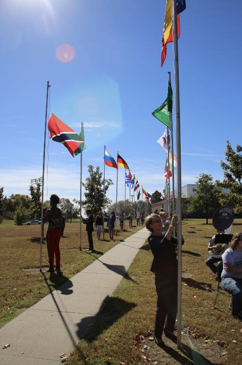 image of flags being flown