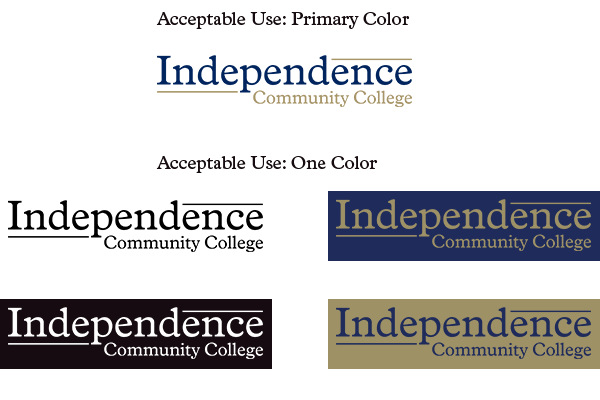 Acceptable Uses of Logotype (Primary and One Color)