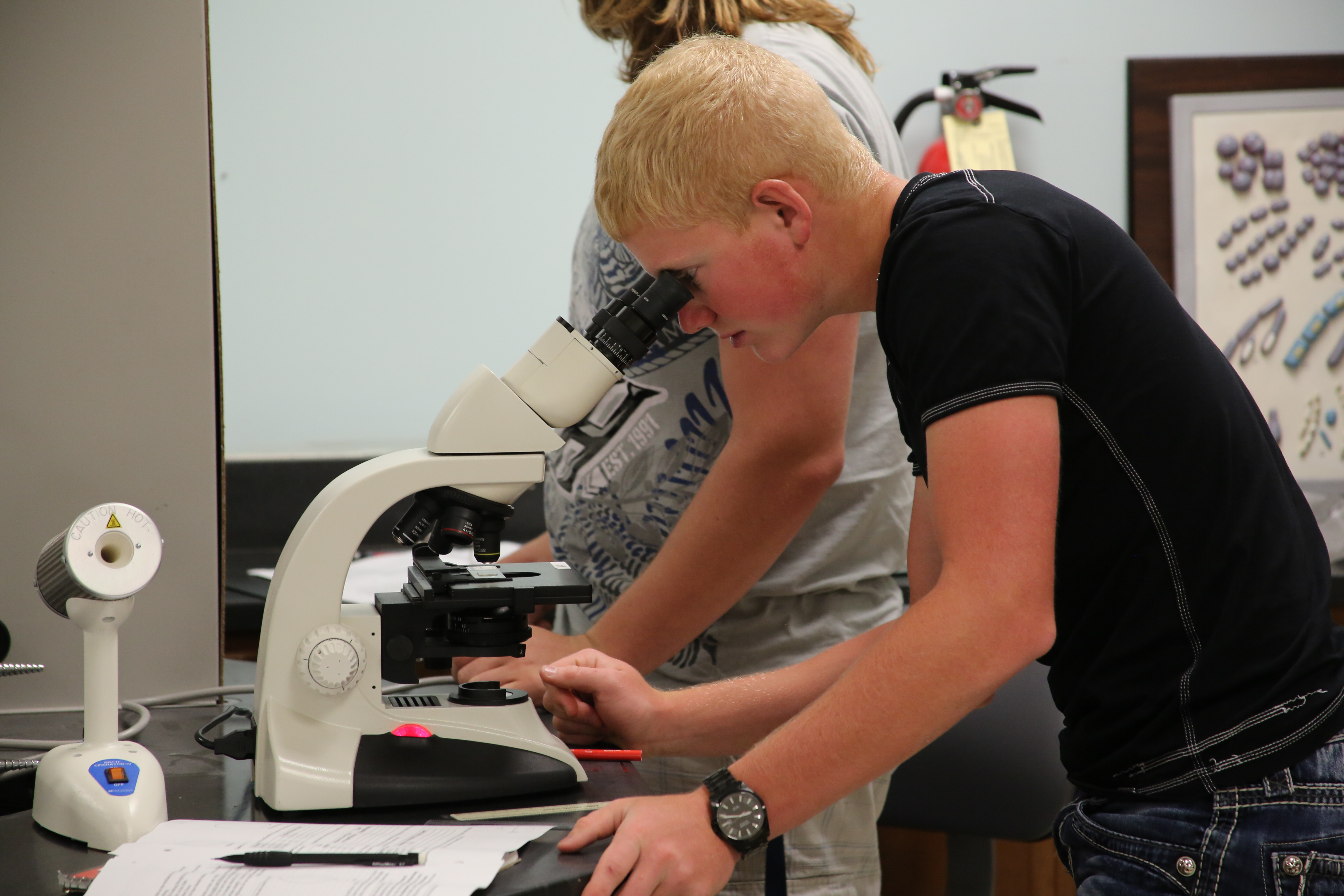 Student looking into a microscope