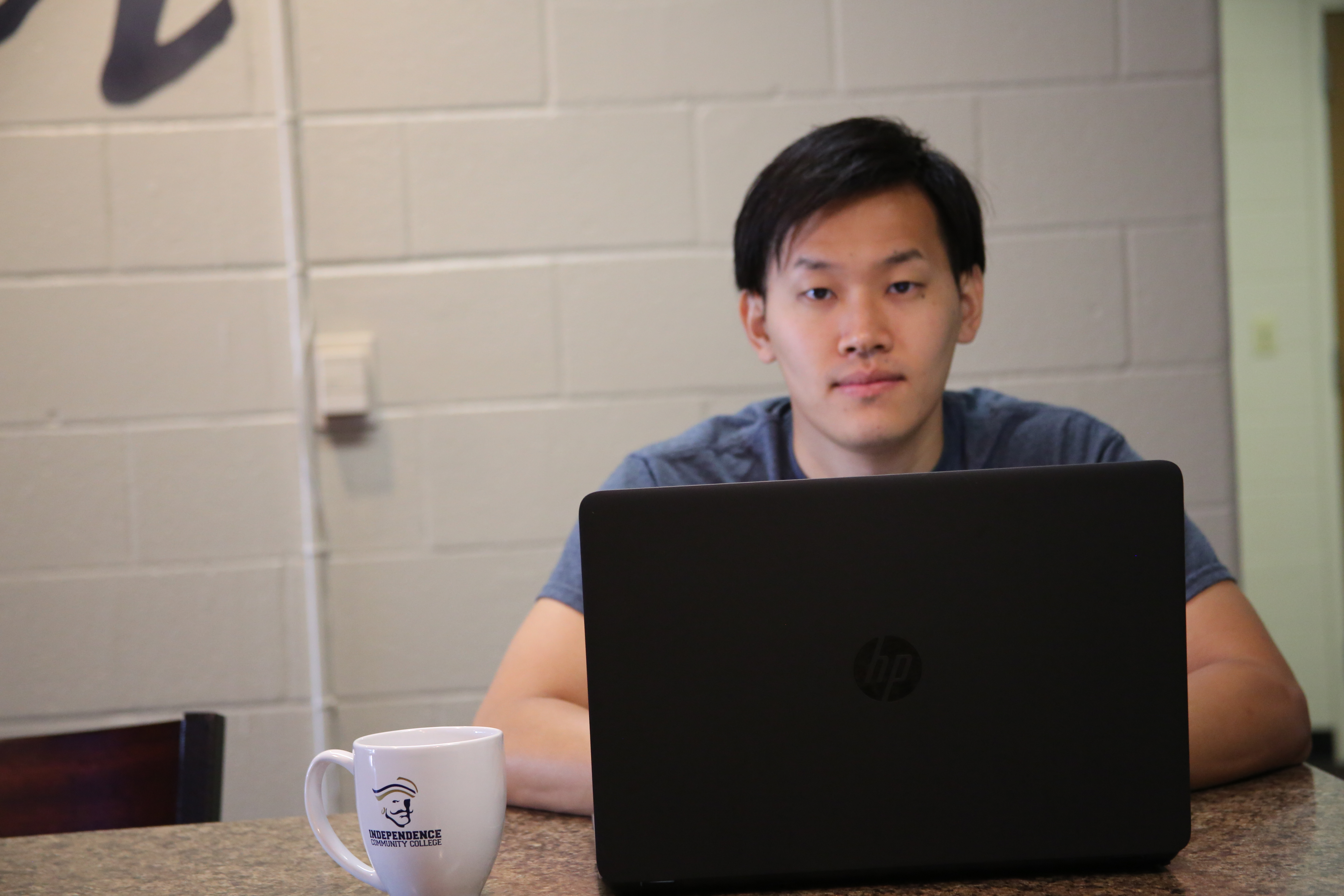 Student using a laptop